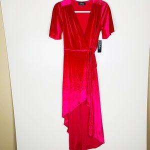 Lulu's Dresses - NWT Lulus Amour Hot Pink Velvet Wrap Dress